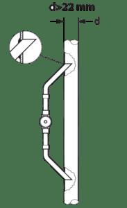 Если диаметр трубопровода более 22 мм смотровое стекло монтируется как врезка в трубопровод.